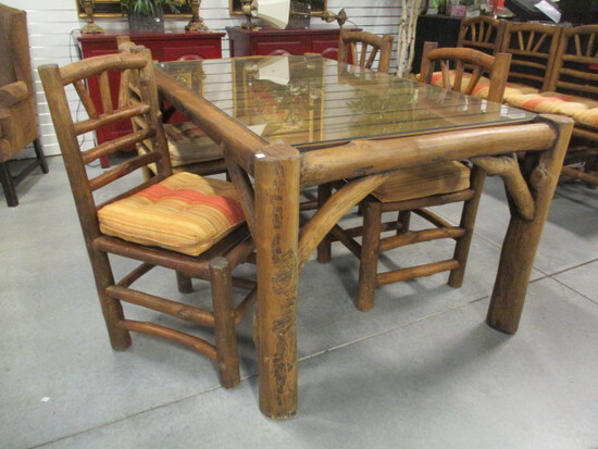 Rustic Log Dining Table and Four Rustic Log Side Chairs