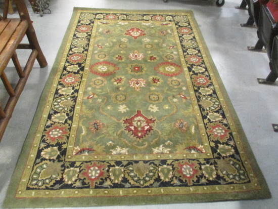 Hand Tufted 100% Wool Pile Green/Rust Area Rug