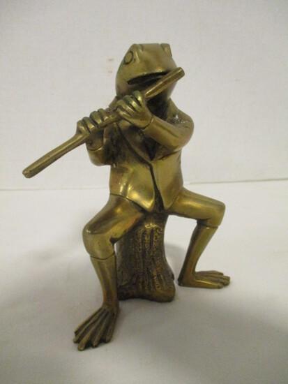 Brass Frog Flutist Statue