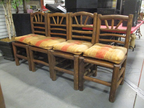 Four Rustic Log Side Chairs