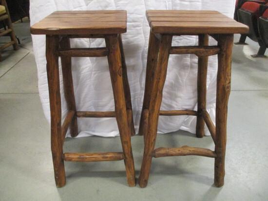 Pair of Rustic Log Bar Stools