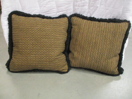 Pair of Custom Made Feather Filled Decorative Pillows