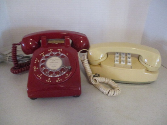 Vintage Red Western Electric Rotary Dial Desk Phone and AT&T Beige
