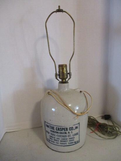 """The Casper Co. Winston-Salem, NC"" Pottery Whiskey Jug Converted to Lamp"