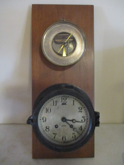 Hand Crafted Weather Station with Vintage Chelsea Ship's Bell Clock and