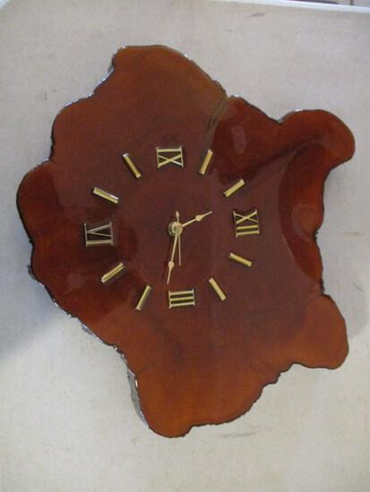 Hand Crafted Wood Slab Wall Quartz Clock