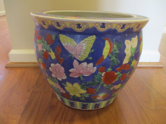 Colorful Butterfly Oriental Fish Bowl Planter