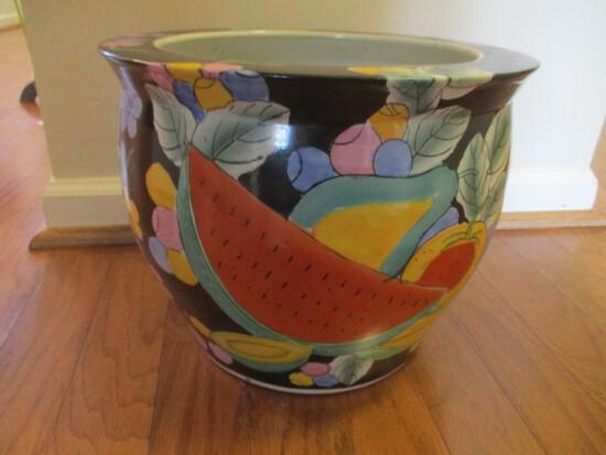 Colorful Tropical Fruit Motif Oriental Fish Bowl Planter