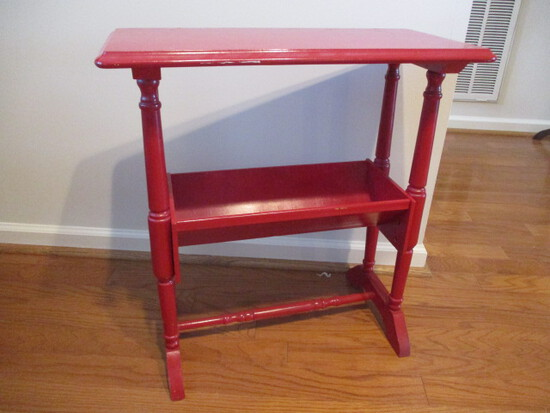 Wood Telephone Stand Painted Red
