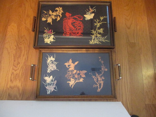 Two Hand Crafted Wood Trays with Oriental Design Cutouts Under Glass