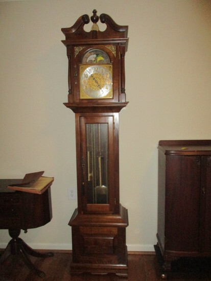 Emperor Clock Co. Walnut 300M Weight Driven Grandfather Clock
