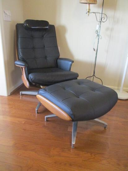 Mid Century Heywood-Wakefield Walnut Swiveling Lounge Chair and Ottoman