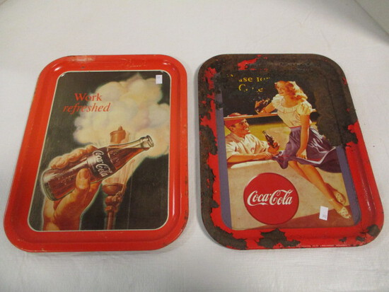 Two Metal Coca-Cola Trays