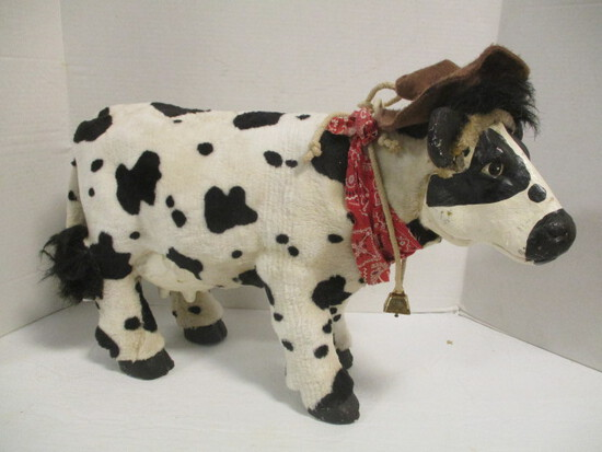 Black and White Wood Cow with Furry Covering