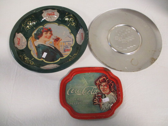 Coca-Cola Bowl, Silver Plate, and Small Tray