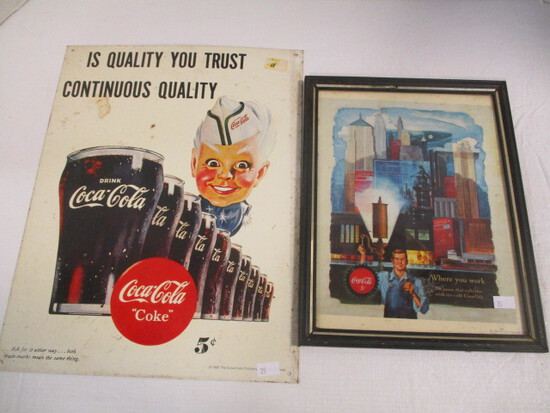 1995 Coca-Cola Sign Featuring Sprite and 1996 Ad in Frame