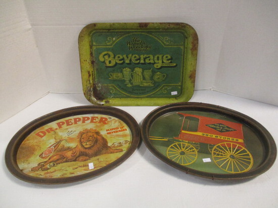 Three Metal Trays - Dr. Pepper, A&P, and Beverage Co.