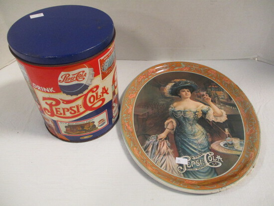 Pepsi-Cola Tin Canister and Oval Tray