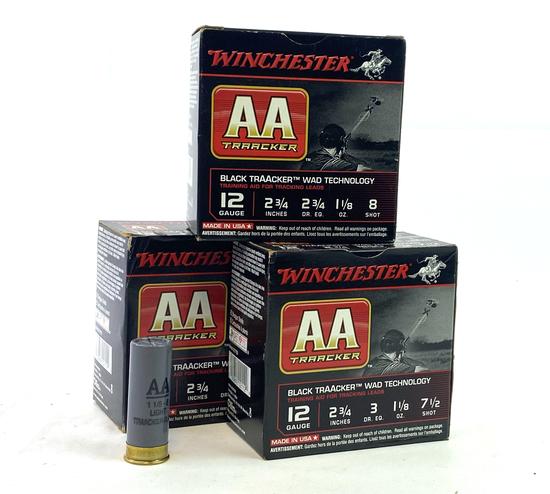 "NIB 75rds. 12 GA. Winchester AA Black Traacker Wad Tech 2-3/4"" Shotgun Ammunition"