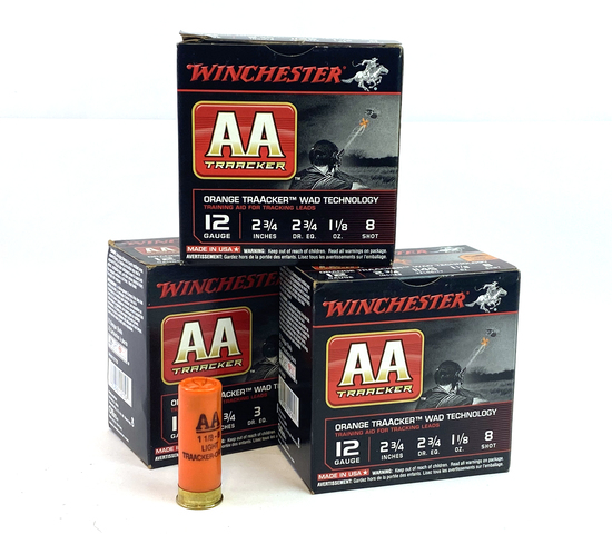 "NIB 75rds. 12 GA. Winchester AA Orange Traacker Wad Tech 2-3/4"" Shotgun Ammunition"