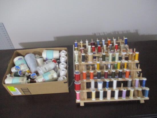 June Tailor Wood Spool Racks and Large Assortment of Thread
