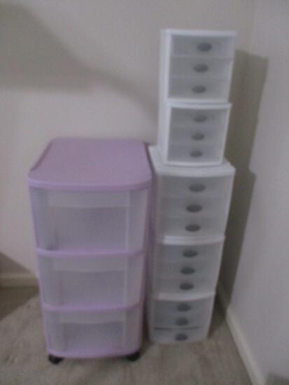 Six Plastic Storage Drawer Organizers