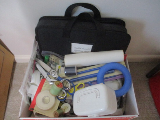 Sewing Sundries-Carry Case, Needles, Stitch Witchery, Silicon Bobbin Holders,