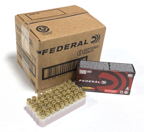 NIB Sealed Case of 500rds. of 9mm Federal 124gr. Brass Ammunition
