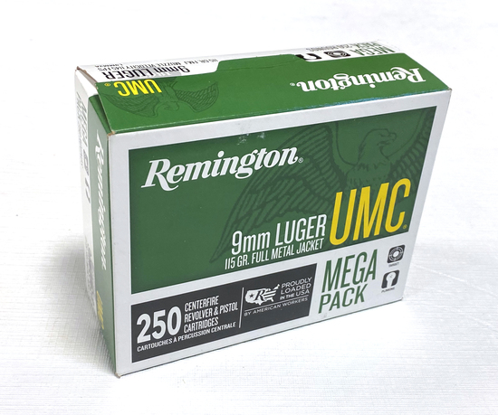 NIB 250rd. 9mm 115gr. FMJ Remington UMC Brass Ammunition