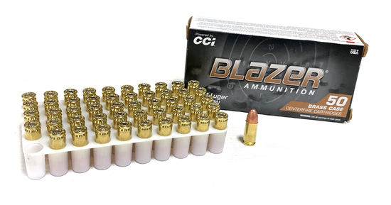 NIB 50rds. 9mm 115gr. FMJ Blazer Brass Ammunition