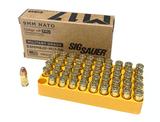 NIB 50rds. 9mm NATO 124gr. +P FMJ Sig Sauer Military Grade Ammunition