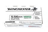 NIB 20rds. Winchester 5.56mm M855 Green Tip 62gr. FMJ Brass Ammunition