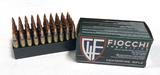 NIB 50rds. Fiocchi .223 Remington 55gr. FMJ BT Brass Ammunition