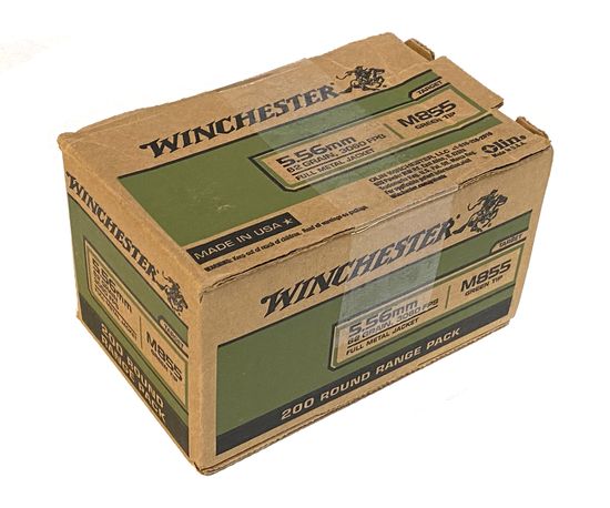NIB 200rds. of Winchester 5.56mm 62gr. M855 Green Tip Ammunition