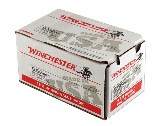 NIB 150rds. of Winchester 5.56mm 55gr. M193 FMJ Brass Ammunition