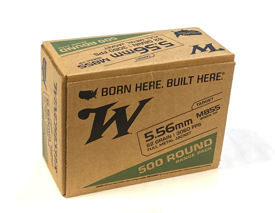 NIB 500rds. of Winchester 5.56mm 62gr. M855 Green Tip Ammunition