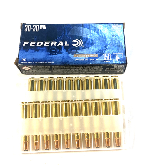NIB 20rds. of Federal Power Shok .30-30 WIN. 150gr. Jacketed SP Brass Ammunition