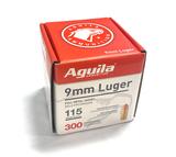 NIB 300rds. of Aguila 9mm Luger 115gr. FMJ Brass Ammunition