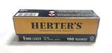 NIB 100rds. of Herter's 9mm Luger 115gr. FMJ Brass Ammunition