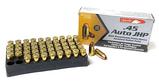 NIB 50rds. of Aguila .45 AUTO 185gr. JHP Personal Defense Brass Ammunition