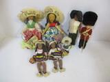 Puerto Rican, Columbian, And English Dolls.  Eskimo Figurine.