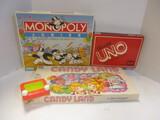 Candy Land, Monopoly Junior, & Uno Board Games.