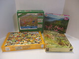 Nature Themed Puzzles By Milton Bradley, Schmid,