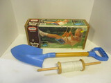 Little Tikes Swing Seat In Box, Toy Shovel, And Kite String Spool