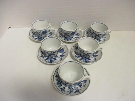 Six Blue Danube Demitasse Cups/Saucers