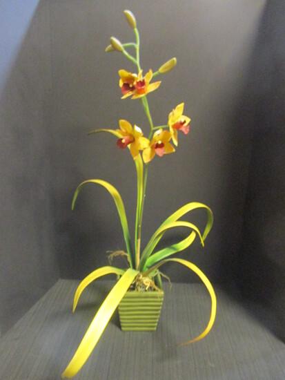 Artificial Orchid in Ceramic Planter