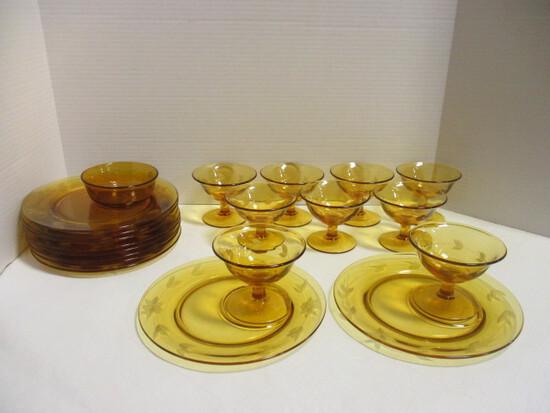 Vintage Topaz Lancaster Glass Dessert Sets