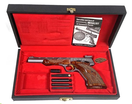 New in Case 1 of 382 Engraved 1973 Browning RENAISSANCE Grade .22 LR Medalist Target Pistol