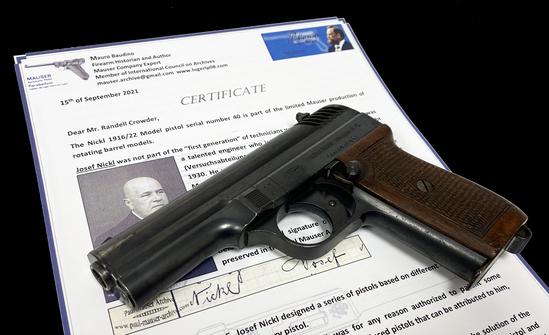 Extraordinarily RARE Experimental Prototype Josef Nickl Patent Mauser M1916/22 9MM Pistol