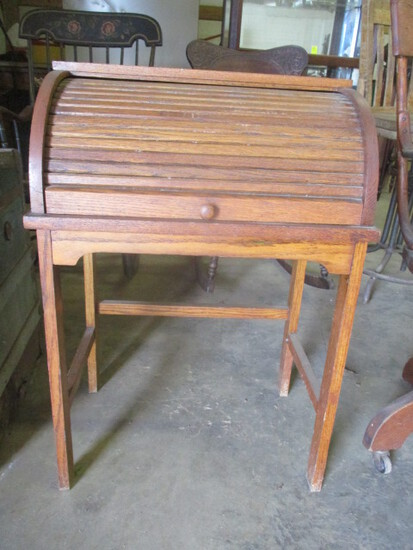 Rustic Hand Crafted Oak Child's Roll Top Desk